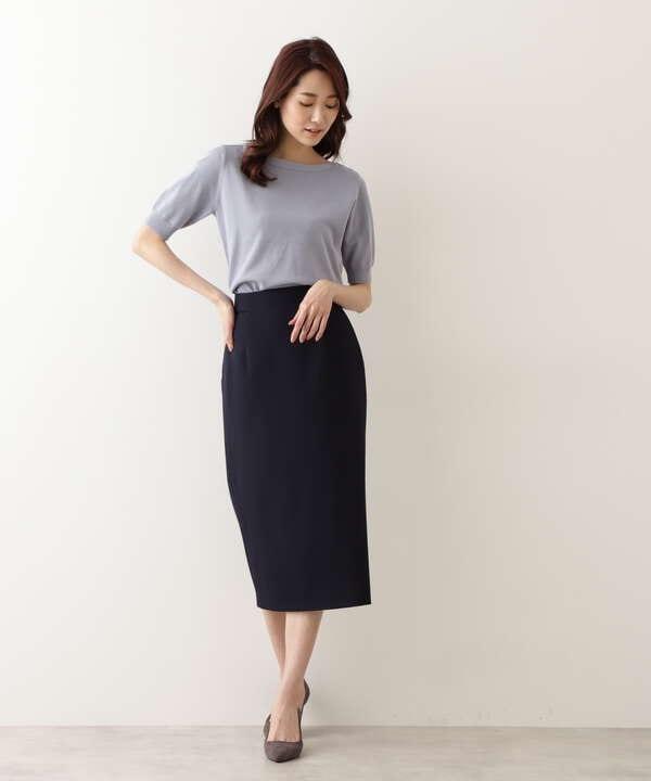 [洗える]ストレッチツイルナロースカート