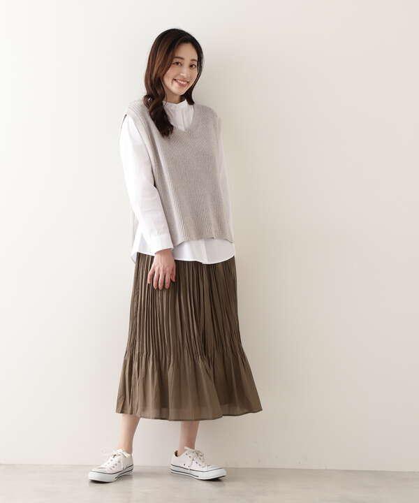 [洗える]ワッシャープリーツスカート