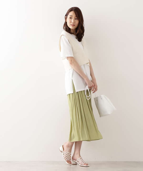 [洗える]割繊ギャザースカート