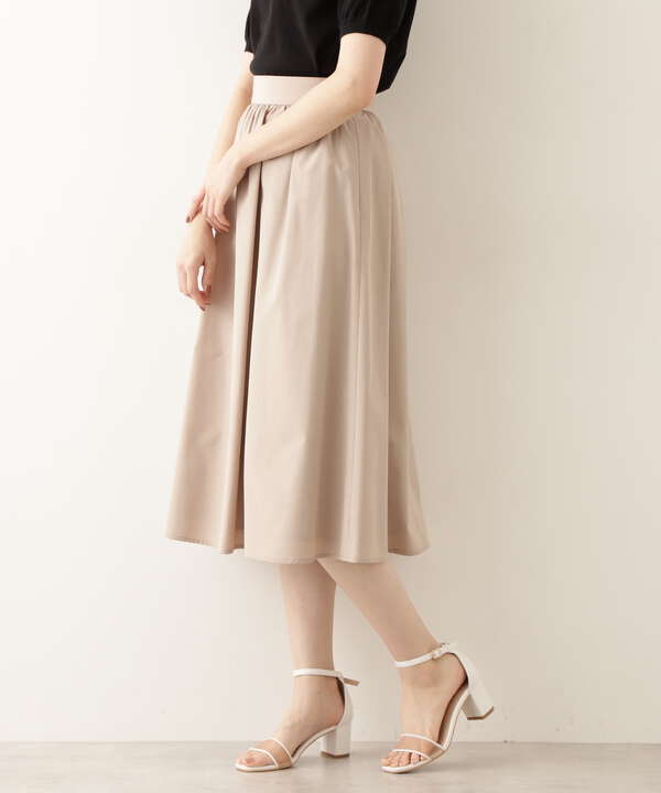 [洗える]タフタギャザーフレアスカート