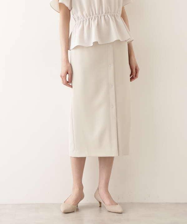 フロントボタンストレッチナロースカート