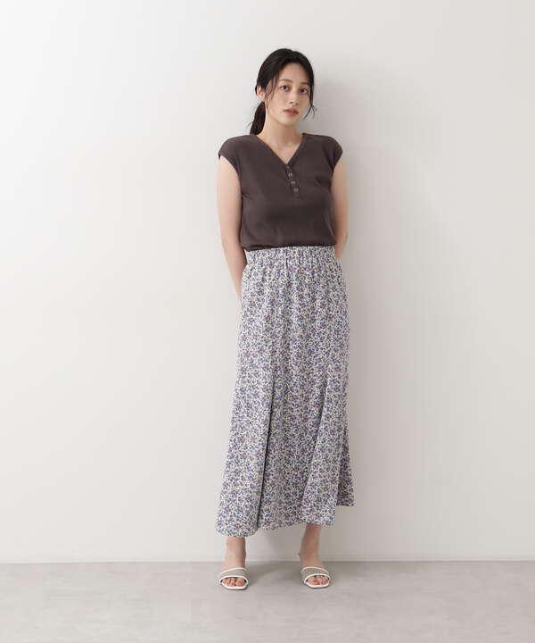[洗える][WEB限定]フラワープリントリバーシブルスカート