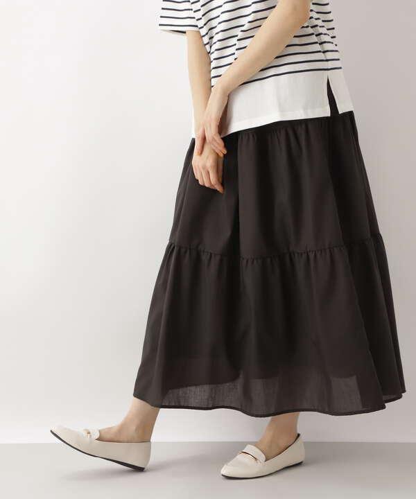 [洗える]ボイルティアードスカート