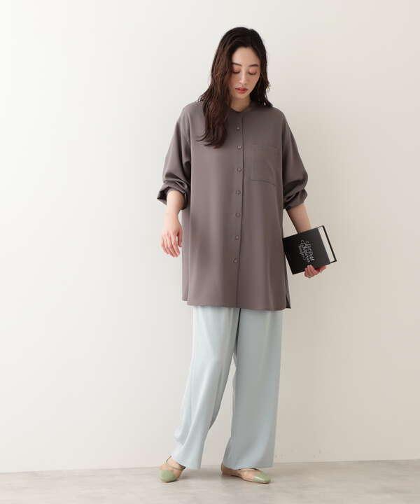 [洗える]ツイルタックワイドパンツ