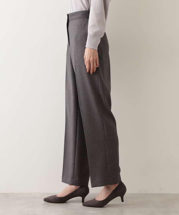[洗える]ダブルクロスストレートワイドパンツ