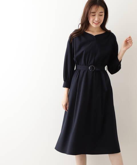 [洗える]ベルテッドシャツワンピース