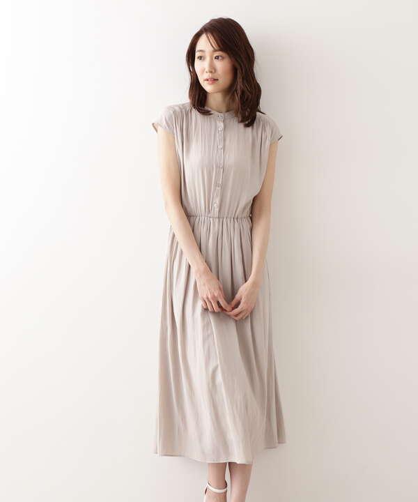 [洗える]割繊ギャザーワンピース