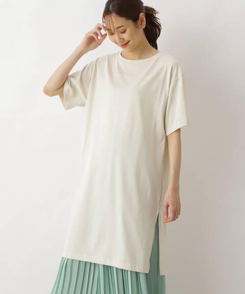 サイドスリットチュニックTシャツ