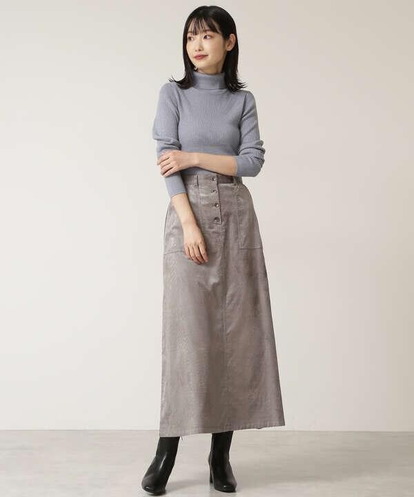 フロントボタンコーデュロイスカート