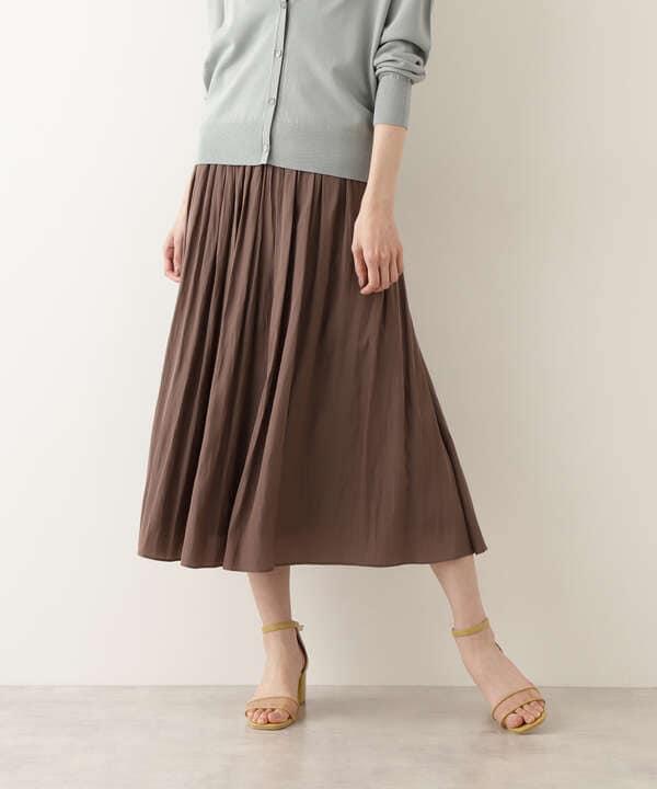 [洗える]割繊デシンギャザースカート