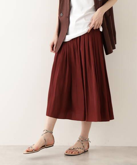 【先行予約6月上旬-6月中旬入荷予定】割繊デシンギャザースカート