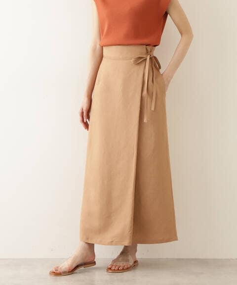 麻混ラップストレートスカート