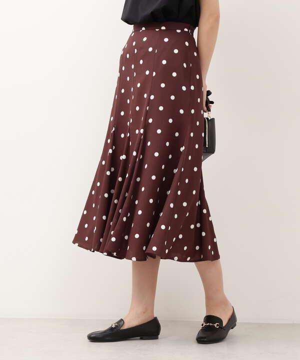 [洗える]ドットゴアードスカート