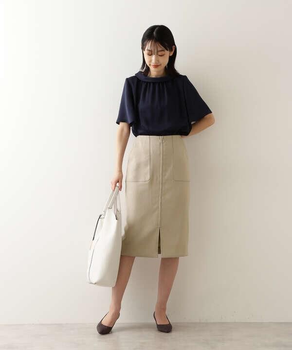 [洗える]リネンライクナロースカート
