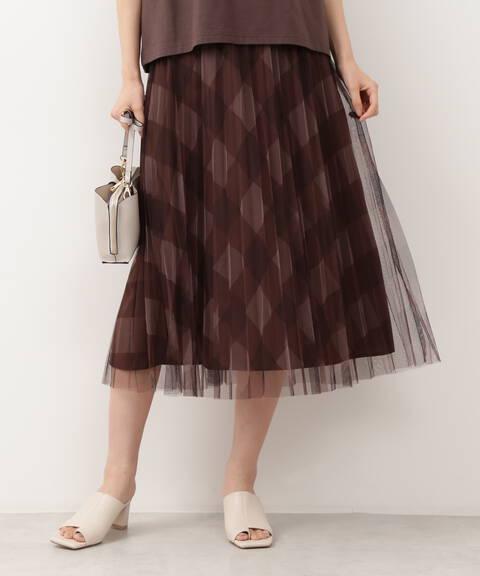 [洗える]チェックチュールプリーツスカート