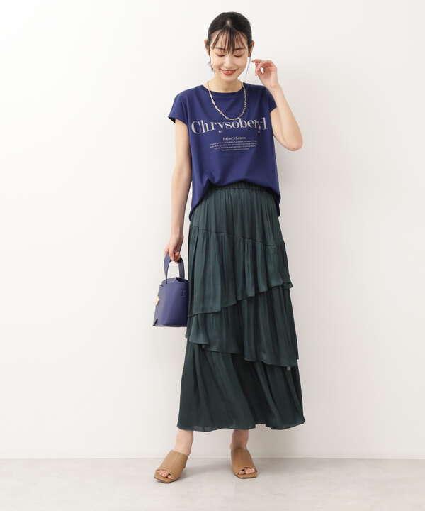 [洗える]サテンレイヤードスカート
