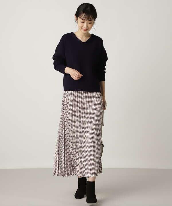 幾何プリントプリーツスカート