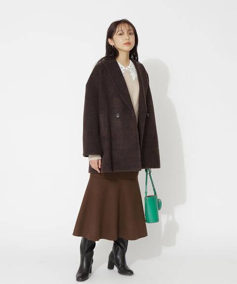 【先行予約10月下旬-11月上旬入荷予定】【Petit LUXE】グレンチェックボンディングハーフコート