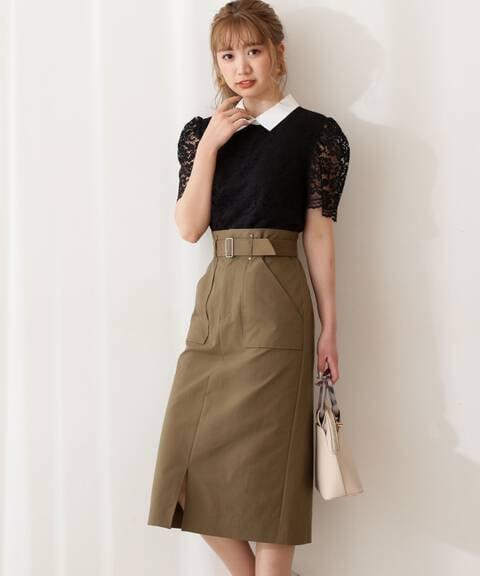 【ブルー:WEB限定カラー】ビックポケットタイトスカート【低身長サイズ展開あり】