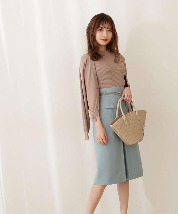 ベルト付ボックスタイトスカート
