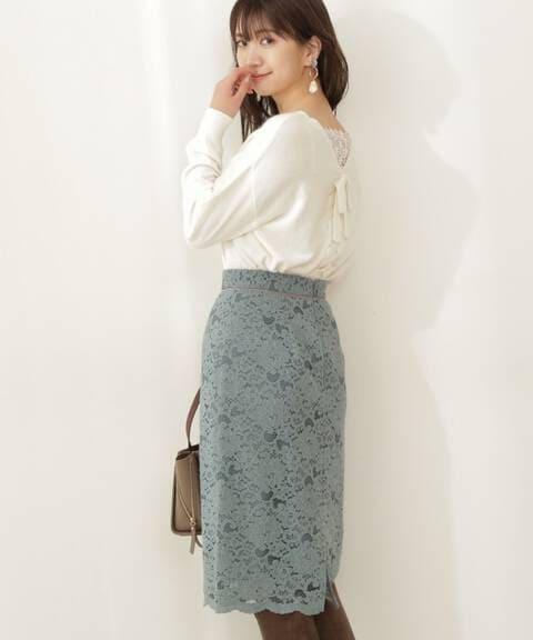 《美人百花12月号掲載商品》ブラッシュレースタイトスカート