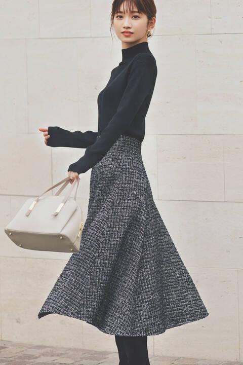 《田中みな実さん着用 美人百花11月号掲載商品》ツイードイレヘムフレアスカート