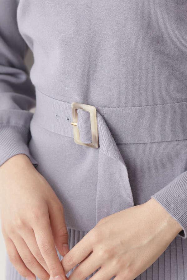 ベルト付Vネックニット×タイトスカートセットアップ