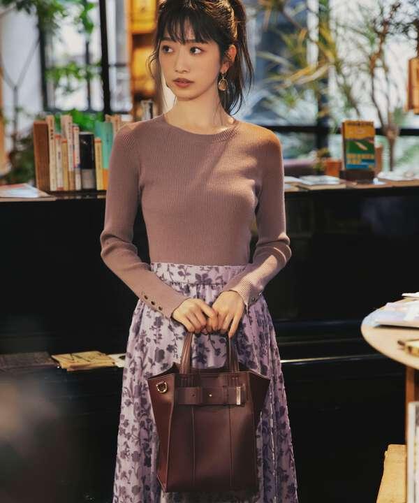 《田中みな実さん着用 美人百花11月号掲載商品》スリットスリーブクルーネックリブニット