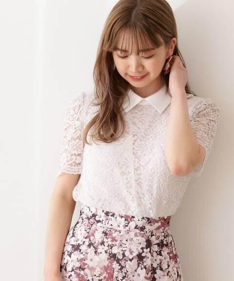 【美人百花5月号 掲載商品】衿付レースブラウス