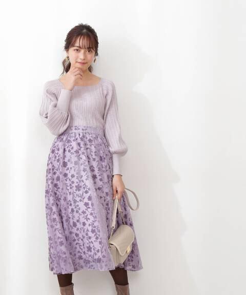 《美人百花12月号掲載商品》ベルベットフラワーオパールスカート