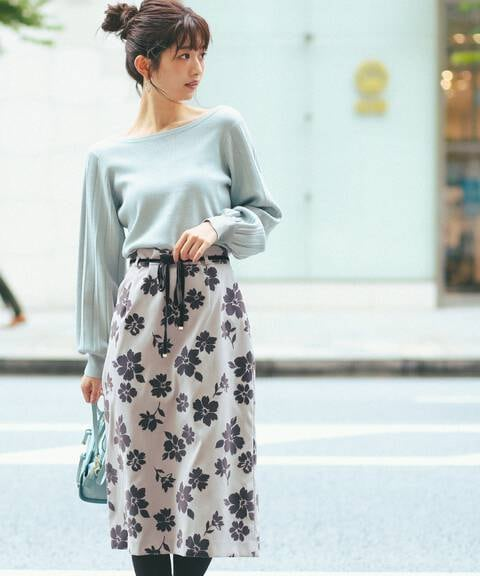 フロッキーフラワータイトスカート