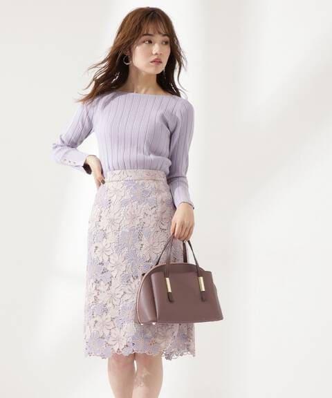 【先行予約2月上旬-2月中旬入荷予定】ケミカルフラワーレースタイトスカート