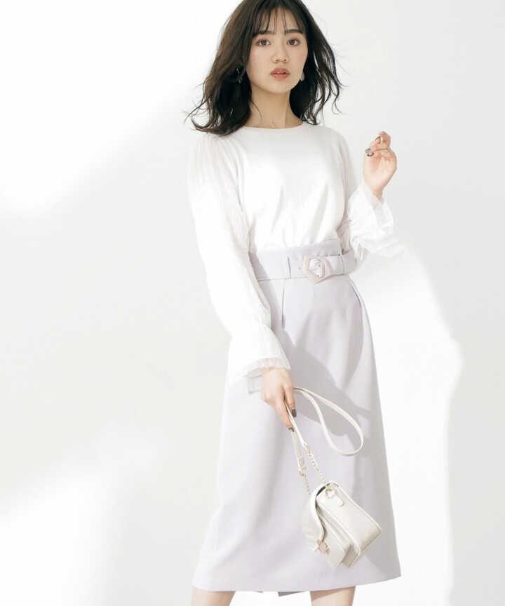 <セットアップ対応>ベルト付きアシメウエストタイトスカート