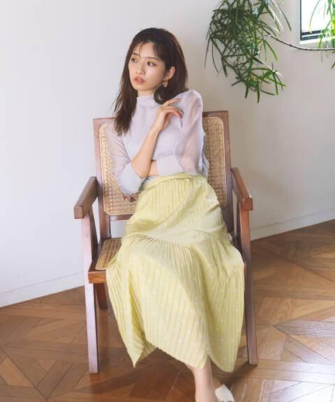 【先行予約3月中旬-3月下旬入荷予定】ラップドットプリーツスカート