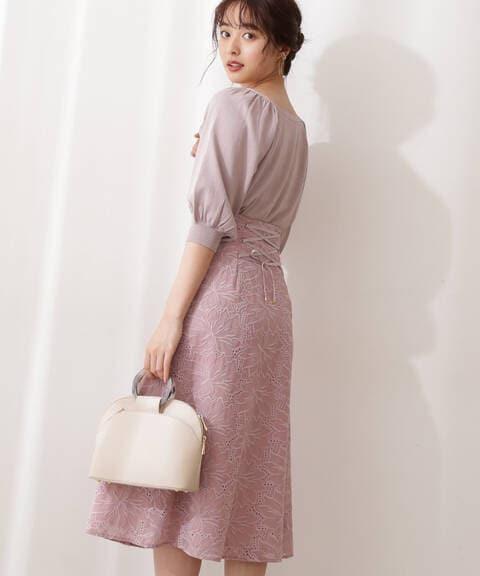 フラワー刺繍バックレースアップスカート