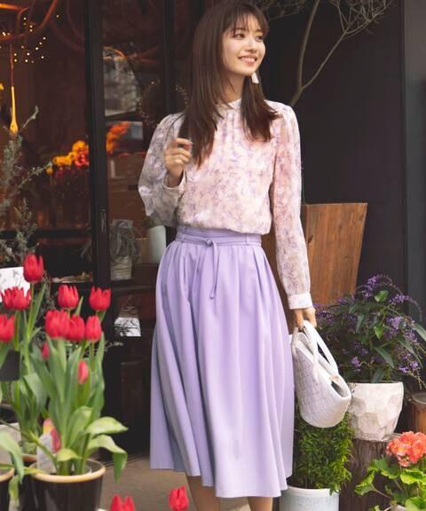 【先行予約3月中旬-3月下旬入荷予定】ベルト付ギャザーフレアスカート