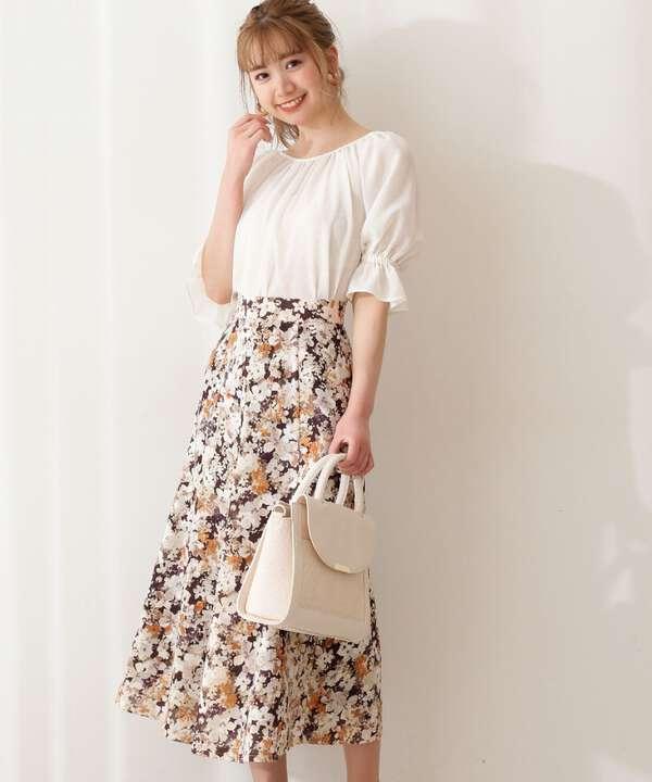 カットジャガードフラワープリントスカート