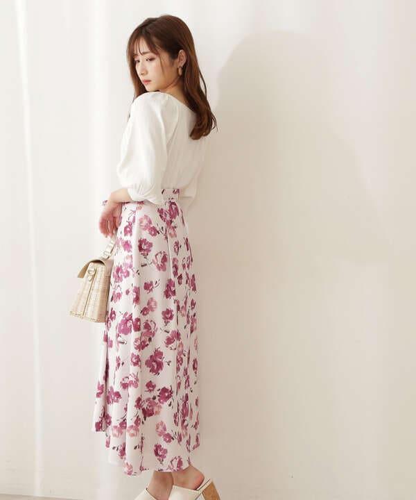 【美人百花5月号 掲載商品】フラワーアシメスカート