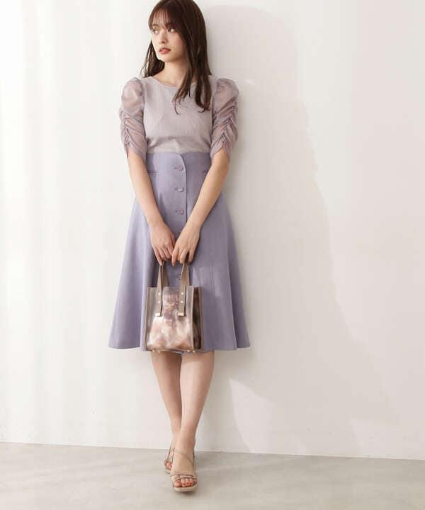 【美人百花5月号 掲載商品】フロント釦ハイウエストフレアスカート