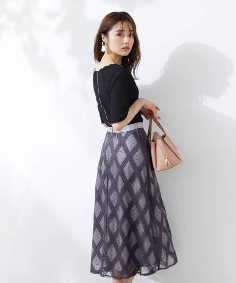 【美人百花5月号 掲載商品】チェックレーススカート