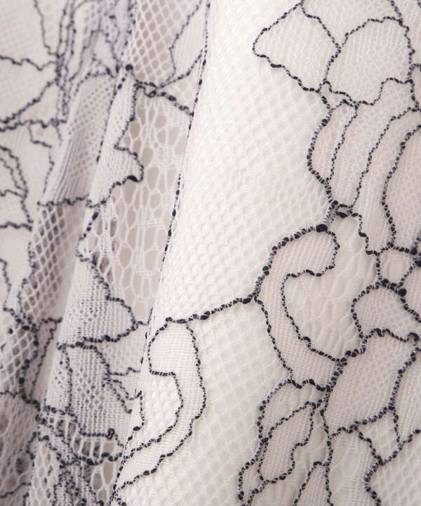 【美人百花6月号 掲載商品】レースフレアスカート WEB限定カラー:ダスティブルー