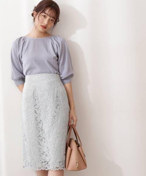【先行予約4月上旬-4月中旬入荷予定】フラワーレースタイトスカート