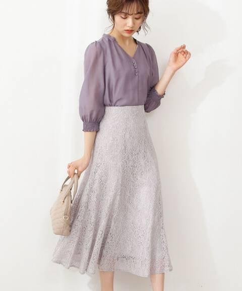 【先行予約3月中旬-3月下旬入荷予定】マーメイドレーススカート<モーヴピンク:WEB限定カラー>