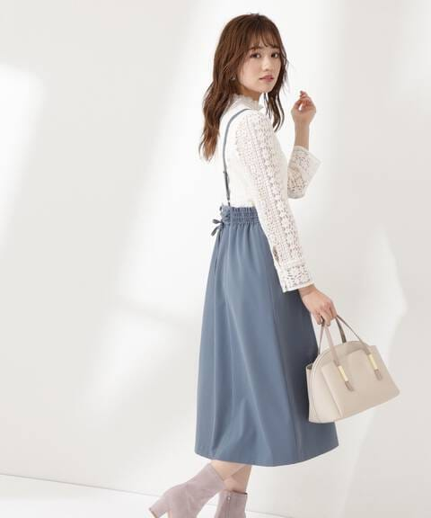 【先行予約2月下旬-3月上旬入荷予定】バックリボンシャーリングジャンパースカート