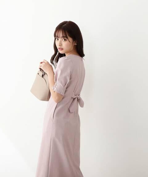 【美人百花5月号 掲載商品】バックリボンタイトワンピース