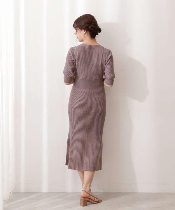 【美人百花5月号 掲載商品】フロント釦2Wayニットワンピース