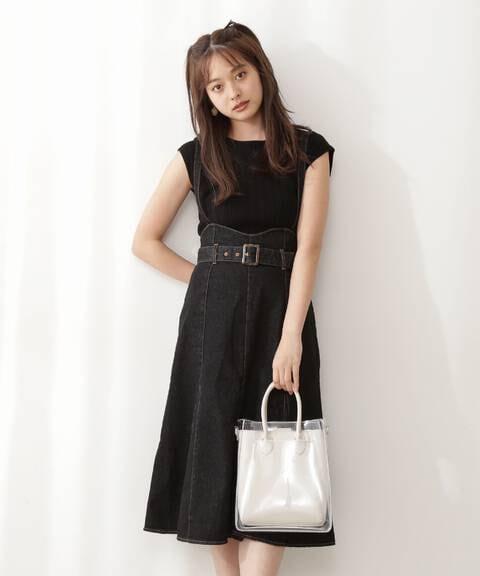 デニムマーメイドジャンパースカート WEB限定カラー:ダークインディゴ