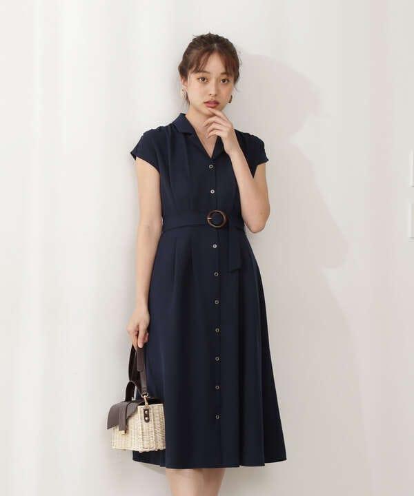 【美人百花5月号 掲載商品】ベルト付フレアシャツワンピース