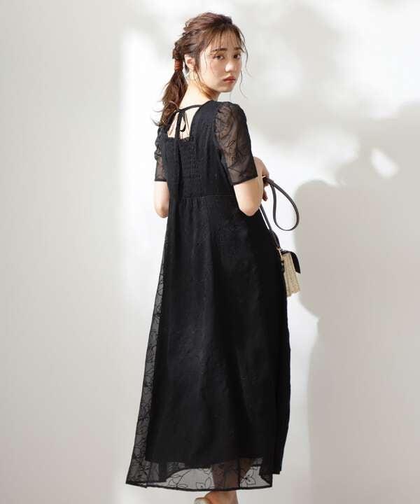 《EDIT COLOGNE》バックシャン楊柳刺繍ワンピース
