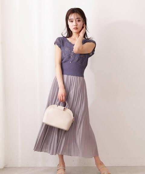 《EDIT COLOGNE》クロシェニット×変形プリーツスカートセット